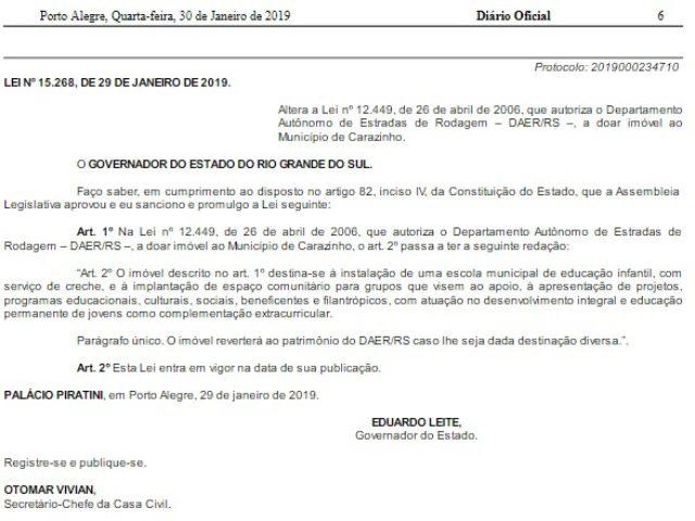 Doação de imóvel do Estado para Carazinho é publicada no Diário Oficial